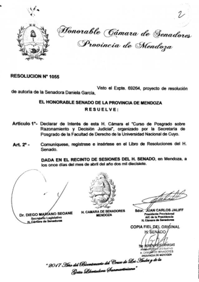Declaración de Interés del Honorable Senado de la Provincia de Mendoza