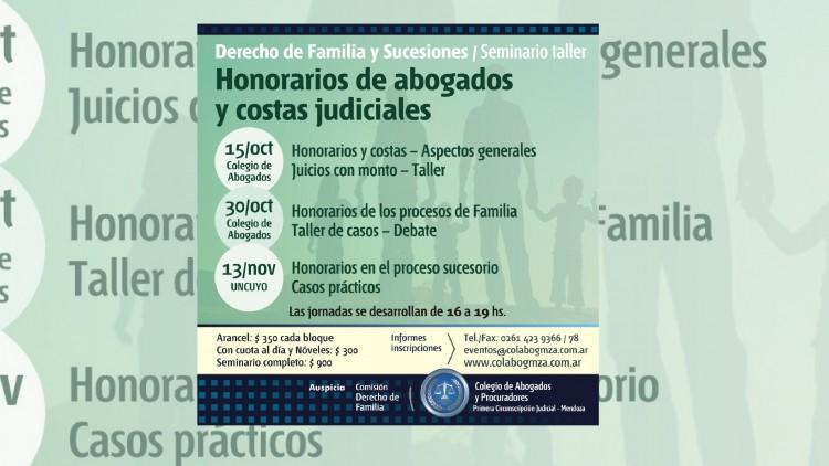 Realizarán seminario sobre costas y honorarios en el Derecho de Familia