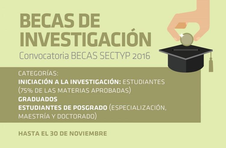 Convocatoria Becas SeCTyP 2016 (Plazo: 2/12 a las 12 hs.)
